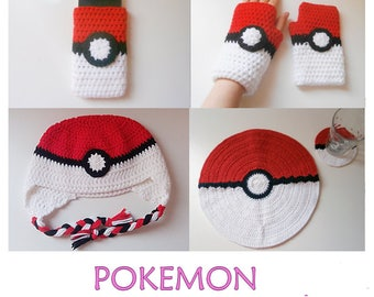 POKEMON pattern pack: fingerless gloves, earflap hat, cell phone cozy, placemat & coaster _ PO01