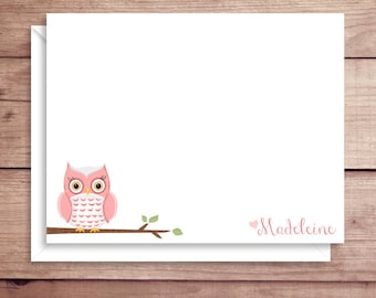 Owl Note Cards - Owl Flat Note Cards - Personalized Owl Stationery - Owl Thank You Notes - Illustrated Note Cards