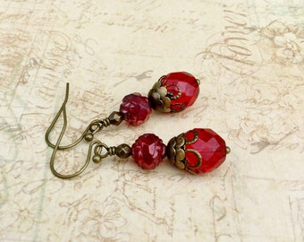 Red Earrings, Ruby Earrings, Victorian Earrings, Bridal Earrings, Flower Earrings, Antique Gold Earrings, Czech Glass Beads, Gift for Her