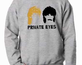 Hall and Oates Private Eyes sweatshirt fleece unisex crew neck band 80s music