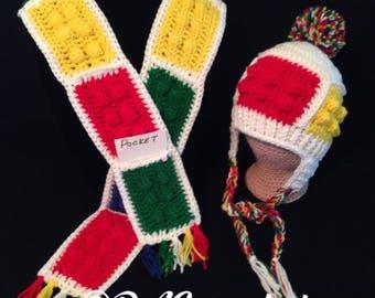 Crochet PATTERN - Color Blocks Lego Inspired Hat and Pocket Scarf Set; Blocks Crochet  Pattern; Lego Look Crochet Pattern; Toddler Size