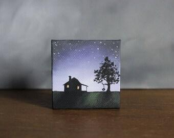 Silhouette Art, Miniature Canvas Painting, Farmhouse Decor, Star Painting, Country Landscape, Miniature Art, Night Sky, Farm Landscape
