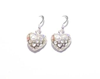 earrings, silver heart earrings, dangle earrings, silver earrings, heart jewelry, small heart earrings, heart earrings, heart charms