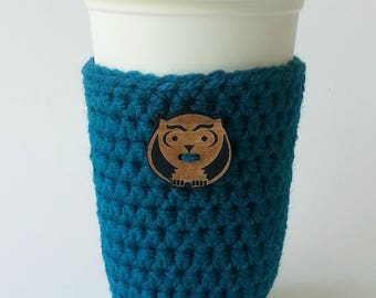 Teal Coffee Sleeve - Crochet Coffee Cup Sleeve - Staff Appreciation - To Go Cup Sleeve - Reusable Coffee Sleeve - Owl Cozy - Valentine's Day