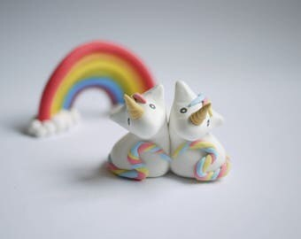 Pastel Unicorn Wedding Cake Topper (With or Without Rainbow)