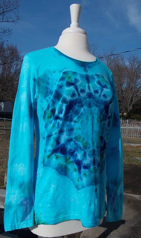 tie dye, ice dyed shirt, ladies large tie dye shirt, tie dye mandala, ice dyed mandala, ladies long sleeve cotton tee, ladies tee shirt