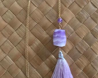 Purple Tassel Necklace