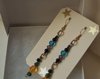 "Long Drop Earrings, Multi- Colorful Dangle Earrings, 2.5""inches Long,Yellow, Blue, Lavender,Asuaku Studio"