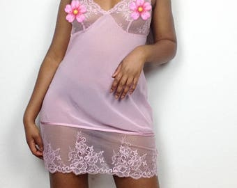 Y2K Lacey Sheer Baby Pink Slip Dress.
