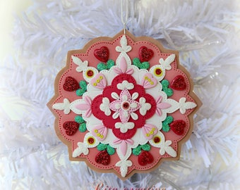 Handcrafted Polymer Clay Ornament , Bauble on a Christmas tree, Unique gift, Unique ornament, Winter Holiday Decor, Folk Art