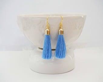 Light Blue and Gold Tassel Earrings