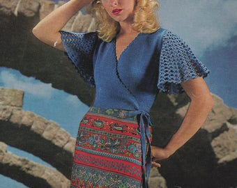 Womens cross over top sweater with crocheted sleeves vintage knitting & crochet pattern pdf INSTANT download pattern only pdf