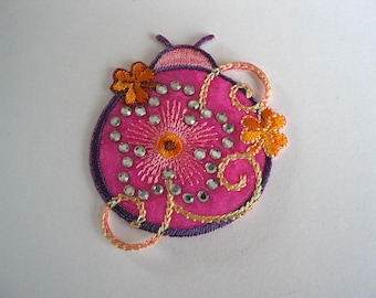 Application pattern insect fusible fabric pink, purple, orange with Rhinestones