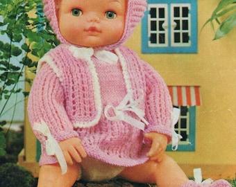 "4 ply 15"" Baby Dolls Clothes Knitting Pattern Tiny Tears Angel Top, Waistcoat  pdf"