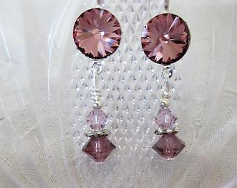 Amethyst Crystal Earrings, Rivoli Crystal Earrings, Crystal Jewelry, Bridal Jewelry, Light Amethyst Crystal Dangles, Pink Crsytal Earrings