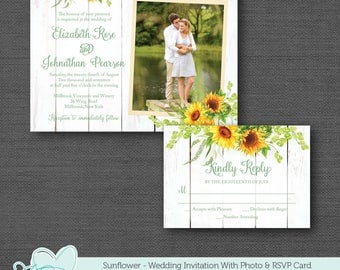 Sunflower Wedding Invitation and RSVP Card Printable, Wedding Invite, Sunflower Invitation, Flowers, Yellow, Floral, 40S