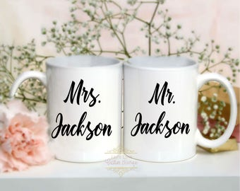 Mr. & Mrs. Coffee Mugs - Personalized Wedding gift - Engagement Gifts - Bridal Shower gifts - Couples Gift - His and Hers Custom Mugs