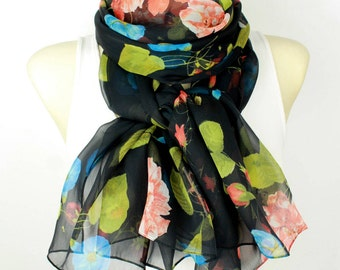 Black Silk Scarf Green and Black Scarf Women Silk Scarf Women Floral Chiffon Scarf Sheer Silk Scarves for Women Gift Mom from Daughter