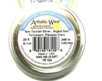 Artistic Wire Non-Tarnish Silver Plated Craft Wire 1mm (18Ga) 6.10m