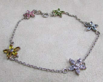 Sterling Silver and Crystal Flower Link Bracelet 9""