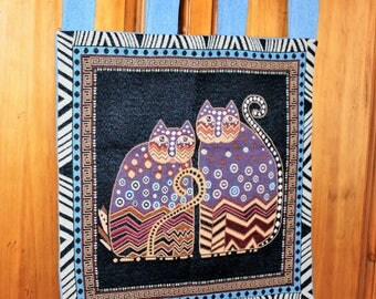 CAT WALL HANGING Cats Tribal Duo Tapestry