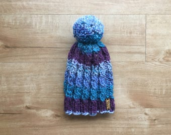 Kids Spiral Cabled Knit Winter Hat / Multi Color + Pom Pom