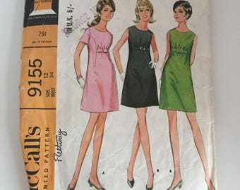 McCall's 9155 1968 Dress Sewing Pattern Bust 34""