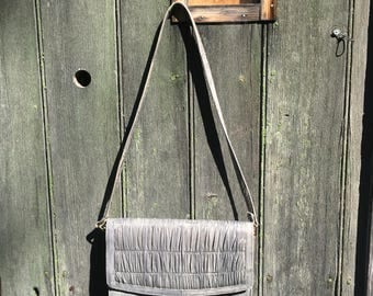 Gray eel skin clutch purse with ruching 1980s leather