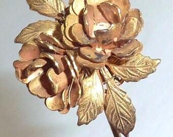Vintage Stanley Hagler Gold Tone Floral Leaf Stick Hat Pin