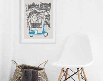 Brighton City Art, British Wall Art, Scooter, Motorbike Gift, The Sixties, Seaside Prints, Dad Gift, Anniversary Gift For Boyfriend