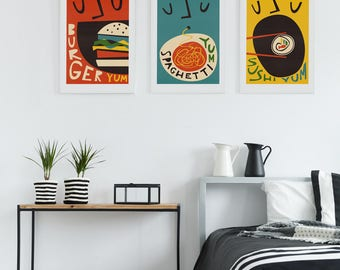 Retro Food Art Set Of 3, Kitchen Art Print, Foodie Gift Brother Sister, Wall Decor Posters, Sushi, Burger, Spaghetti, Restaurant Chef Art