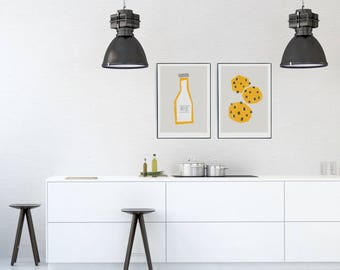 Milk & Cookies Prints, Gallery Wall Kitchen Art, Retro Minimalist Home Decor, Mid Century Modern, Gift for Baker, Mum, Dad, Pair of Prints