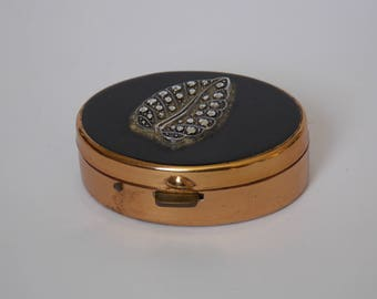 very old box pills plated gold has silver leaf decoration