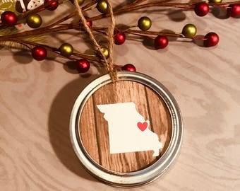 Mason Jar Lid Ornament - Choose Any State