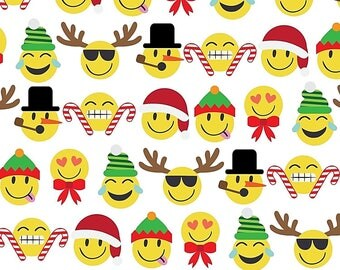 "Christmas Emoji Tissue Paper #802 .. Smiley faces  - 10 lg sheets ... 20"" x 30"""