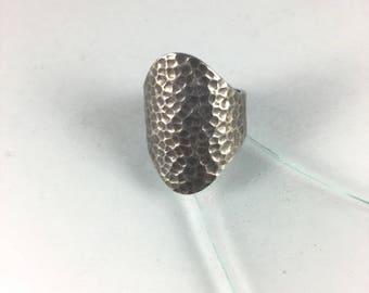 Copper Hued Textured Silver Ring with Large Copper Colored Textured Face on Sterling Silver Ring // Sz: 8.5