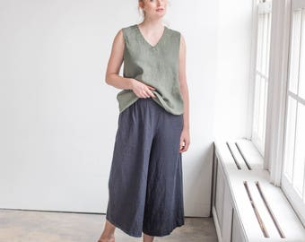 Linen MIDI skirt -  pants / Linen culottes in charcoal