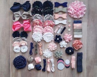 DIY Headband Kit, Baby Shower Activity Kit, 28 Flower Headbands, Headband Supplies, DIY Bow Kit, Felt Bow Headbands, Headband Bar