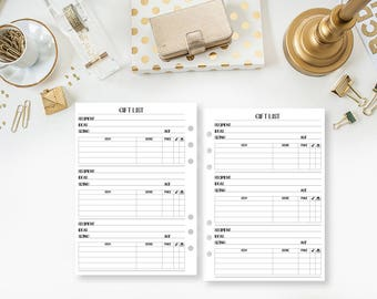 A5 Gift List - Present Ideas - Clothing Size Tracker - Shopping - Holiday Gifts - Birthday - Christmas Presents - Wedding, Baby Shower