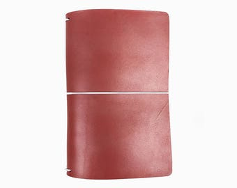 Pearl Red Leather Travelers Cover - Vegetable Tanned - CityGirl Collection - Frosted Carmine - Notebook - Full Grain - Journal - Hand-Dyed