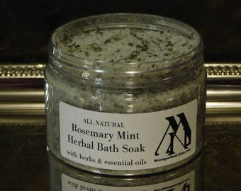 Rosemary Mint Herbal Bath Salts Essential Oil Bath Soak Epsom Salt Aromatherapy Bath Salt High Mineral Therapeutic Sea Salt Bath