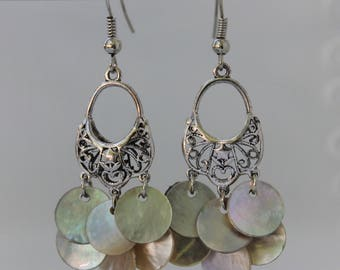 White Shell Chandelier Earrings
