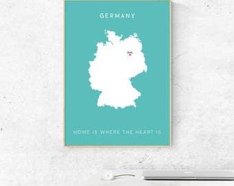Benutzerdefinierte Karte Deutschland Poster Berlin Kartendesign Minimal