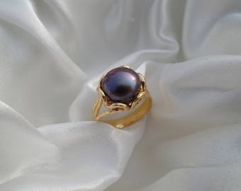 Birthstone ring Pearl Ring GOLD Filled Ring gift for her womens rings black peal everyday ring
