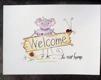 Framed Mouse illustration, Housewarming gift, Welcome sign, Wall art, Mouse art, home decor, welcome to our home sign, gift idea