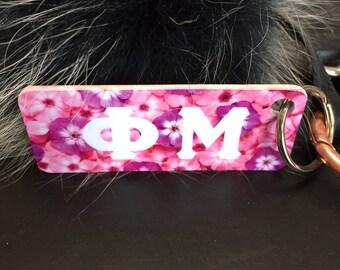 Phi Mu Floral Keychain