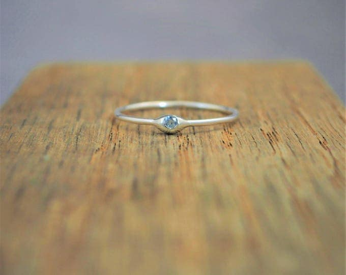 Dainty Silver Aquamarine Mothers Ring, Birthstone, Tiny Aquamarine Ring, Dew Drop Ring, Sterling Silver, Stacking Ring, March Birthday Gift