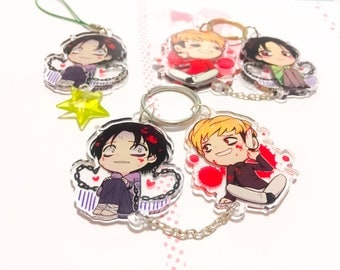 Killing Stalking linked Keychain and Charm 1.5inch Clear Acrylic Double-sided (PRE-ORDER)