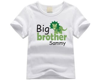 Personalized big brother shirt. Dinosaur big brother tshirt. New big brother gift idea. Custom dinosaur shirt for new big brother. New baby