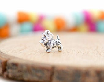 Silver Scottie Dog Charm Necklace • Sterling silver gifts for her, jewellery, scottish terrier, scotty, crufts, breed, 3D dog lover, groomer